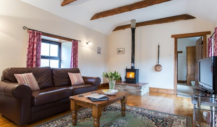 Wheal Anna Living Room - with cosy wood burning stove